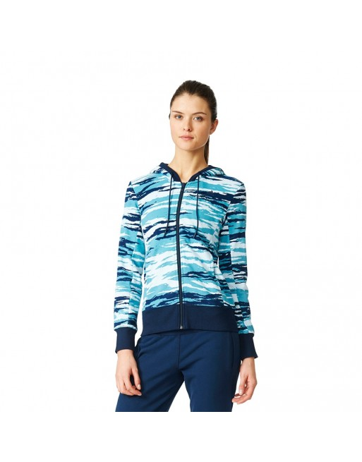 Bluza adidas Essentials Hoody All Over Print AY4877 Kolor niebieski Rozmiar XXS